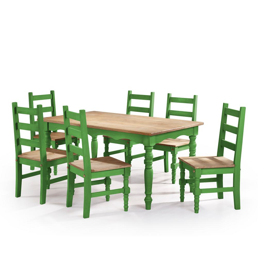 6 chair dining set stair lift chairs covered medicare manhattan comfort jay 7 piece green wash solid wood with and 1 table