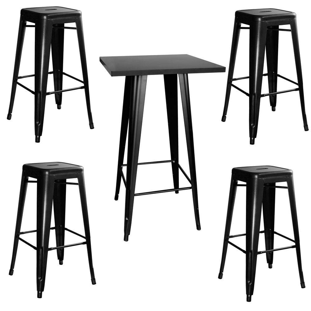 small pub table and chairs best drafting amerihome loft style metal bar set in black with stackable stools 5 piece