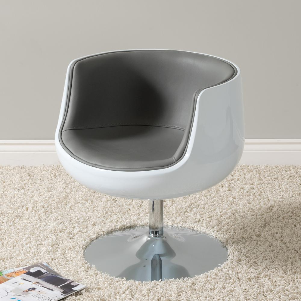 Swivel Tub Chair Corliving Mod Modern Grey And White Bonded Leather Swivel Barrel