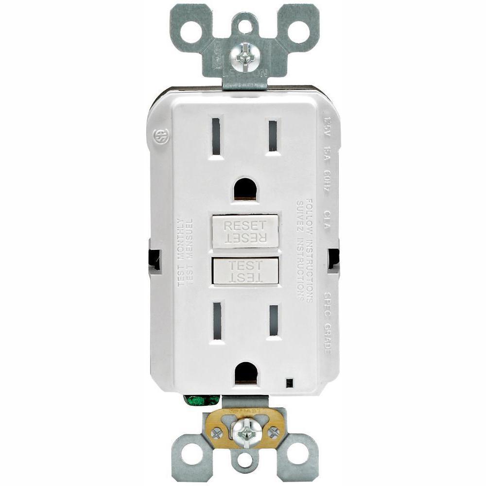 medium resolution of 15 amp 125 volt duplex smartest self test smartlockpro tamper resistant gfci outlet white 4 pack