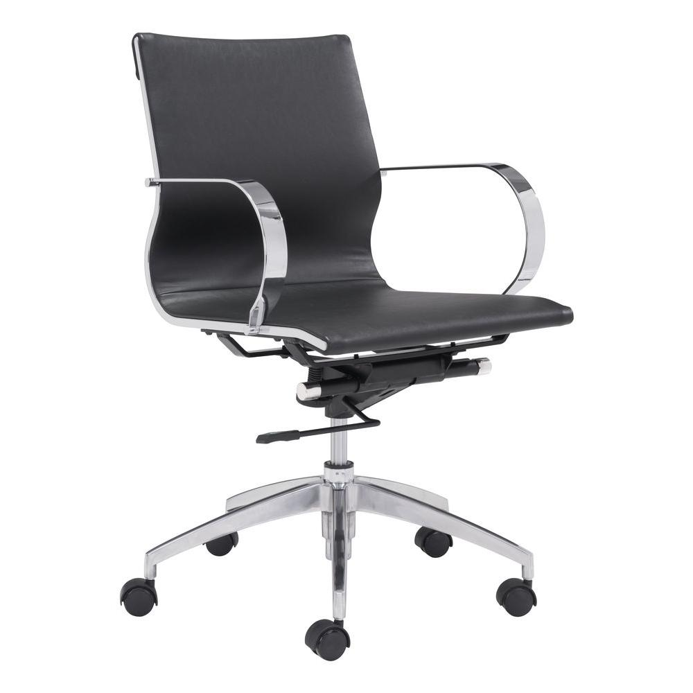 Low Back Office Chair Glider Black Leatherette Low Back Office Chair
