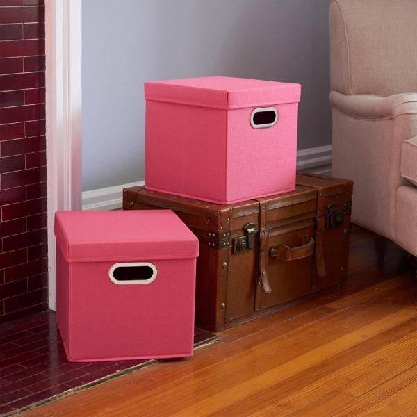 Household Essentials 11 In. X Strawberry Linen Bin Set 2-pack -810-1 - Home Depot