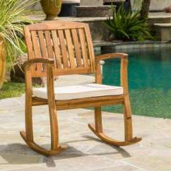 Outdoor Rocking Chairs For Fire Pit Weather Resistant Patio The Home Depot Selma Teak Finish Wood Chair With Cream Cushion