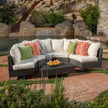 Noble House Newton Grey 5-piece Wicker Outdoor Sectional