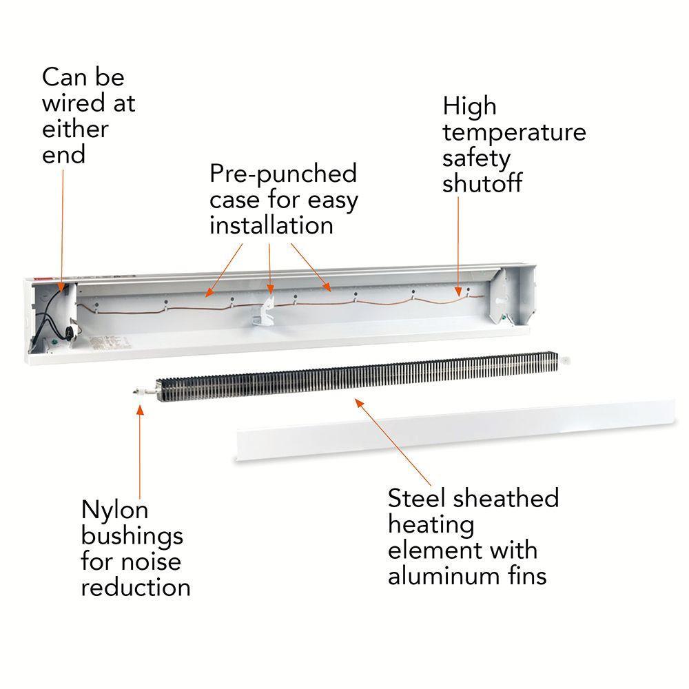 medium resolution of cadet 48 in 1 000 watt 240 volt electric baseboard heater in white cadet 240v baseboard heater wiring diagram