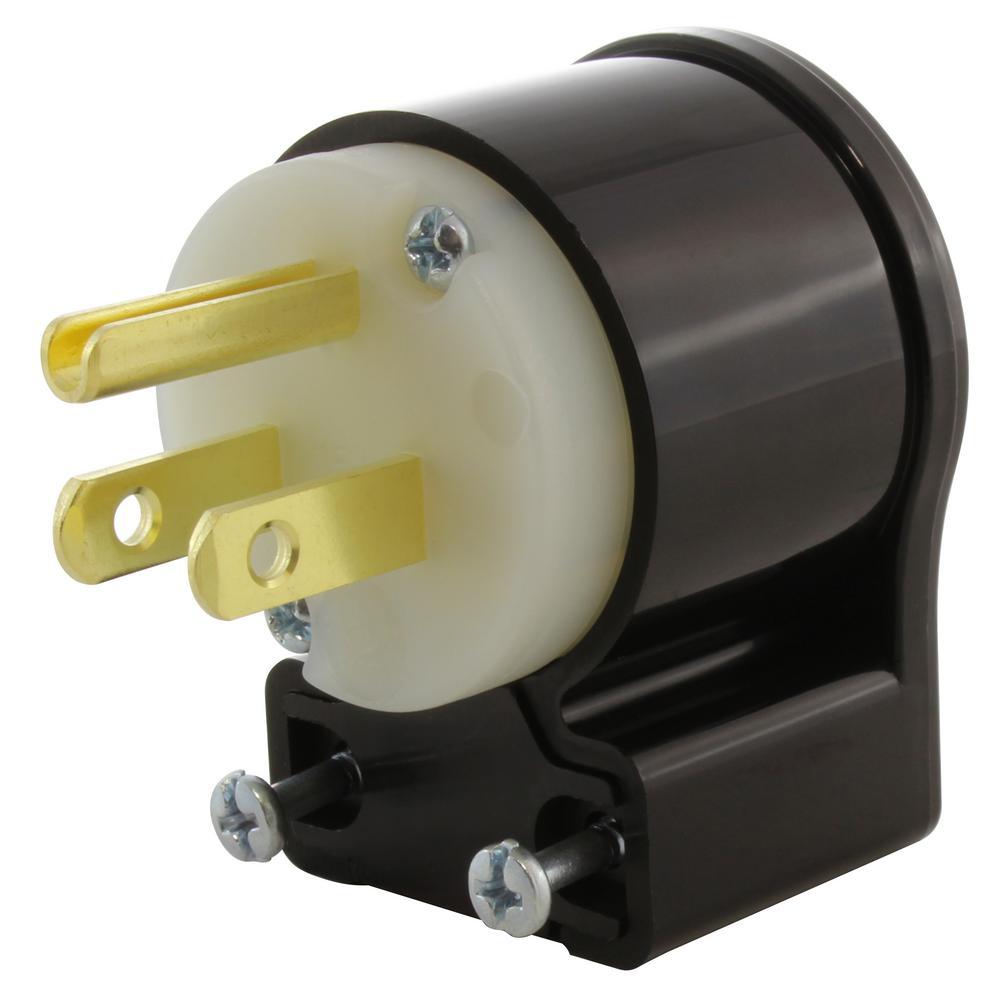medium resolution of 15 amp 125 volt nema 5 15p 3 prong all angles elbow household male plug