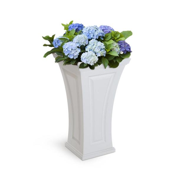 Mayne Cambridge 16 In. Square White Plastic Column Planter