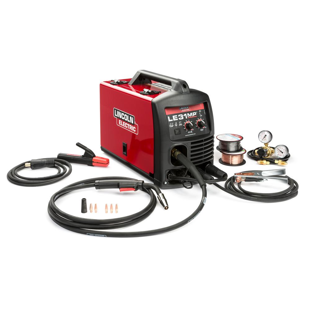 hight resolution of 140 amp le31mp multi process stick mig tig welder with magnum pro 100l gun mig and flux cored wire single phase 120v