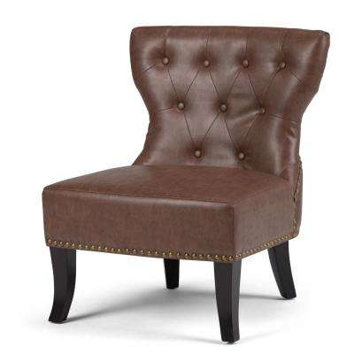 brown slipper chair camping with footrest accent chairs the home depot kitchener rustic bonded leather