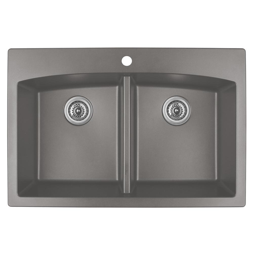concrete kitchen sink cabinet design karran drop in quartz composite 33 double bowl