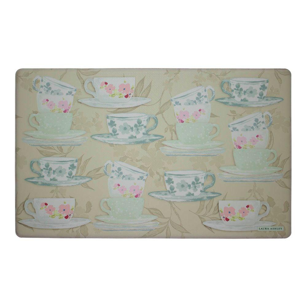 memory foam kitchen rug buy used cabinets laura ashley tea party taupe 20 in x 32 mat