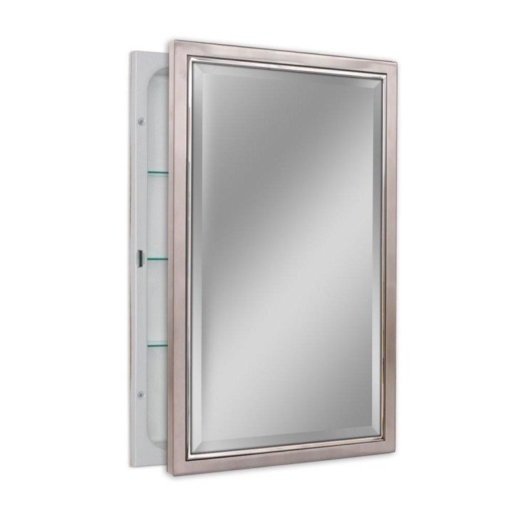 D Classic Framed Single Door Recessed Bathroom Medicine Cabinet in Brush  Nickel and Chrome
