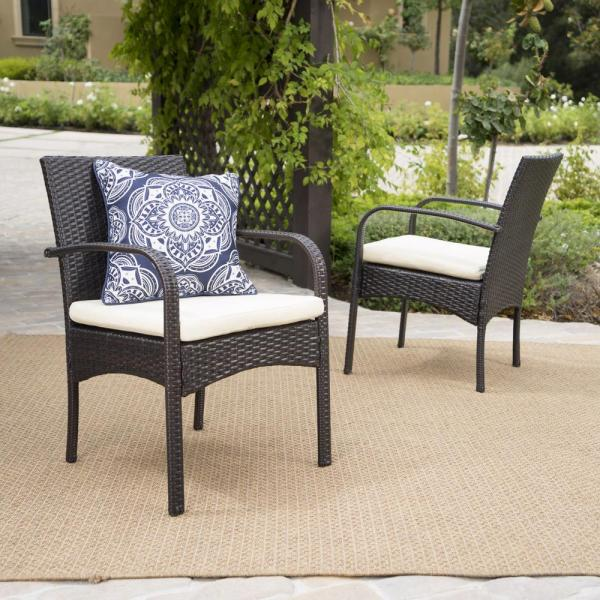 outdoor wicker furniture cushions for chairs Noble House Cordoba Multi-Brown Removable Cushions Wicker