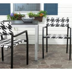 Wicker Patio Chair Set Of 2 Sleek Office Safavieh Halden White And Black Aluminum Pe Armchair Pack