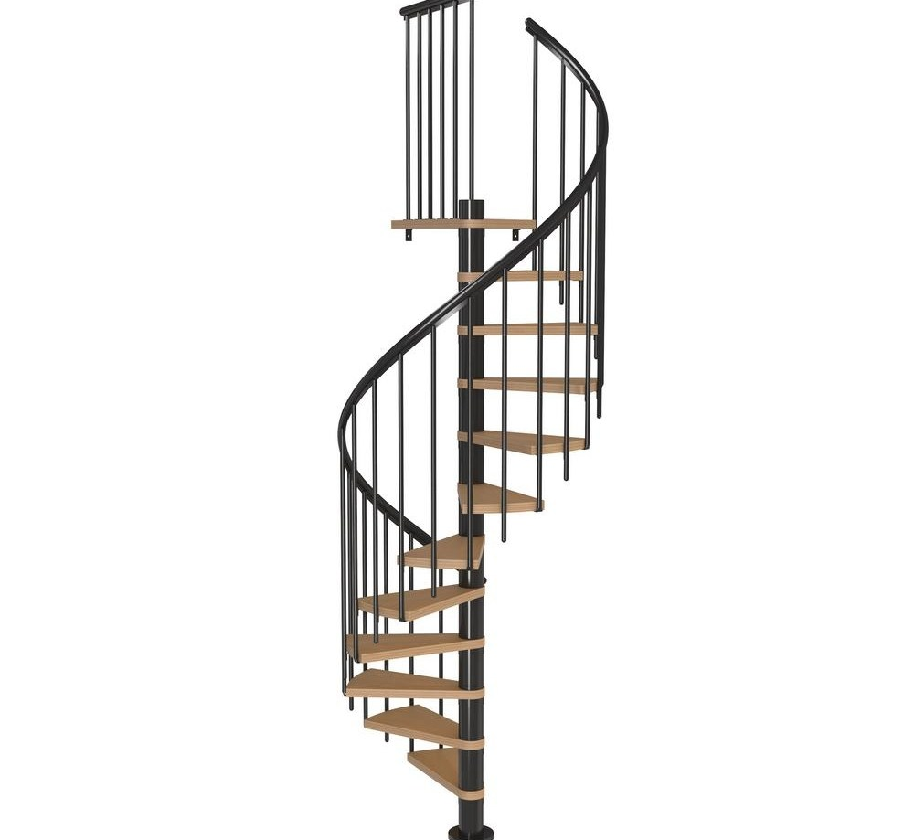 Dolle Calgary Black 47 In Dia Extra Baluster Stair Kit 110 In   Outdoor Spiral Staircase Home Depot   Stair Parts   Stair Case   Steel Spiral   Stair Kit   Handrail