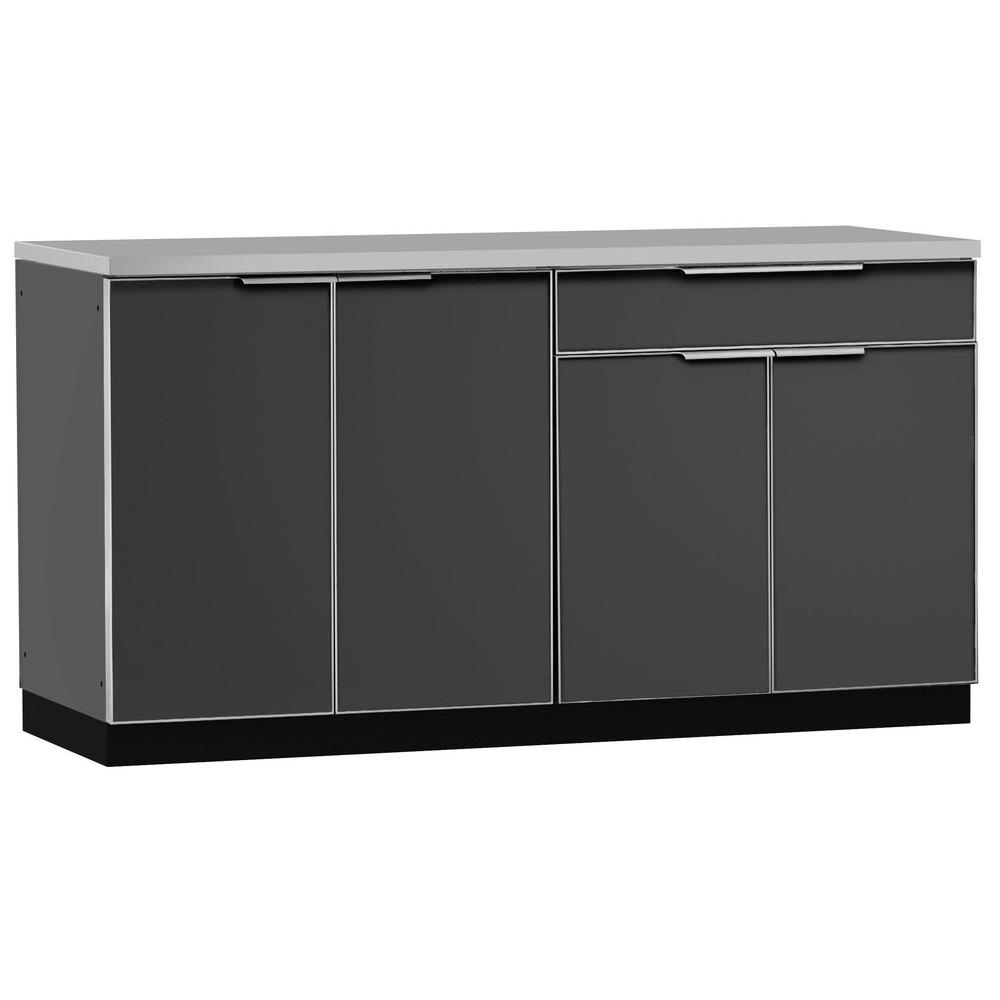 kitchen cabinet set wholesale cabinets newage products aluminum slate 3 piece 97x36x64 in outdoor on casters