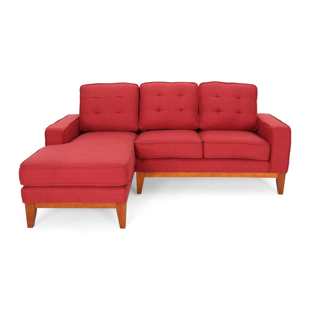 noble house 2 piece red brown tufted fabric 3 seater l shaped right facing sectional sofa with tapered wood legs 55461 the home depot