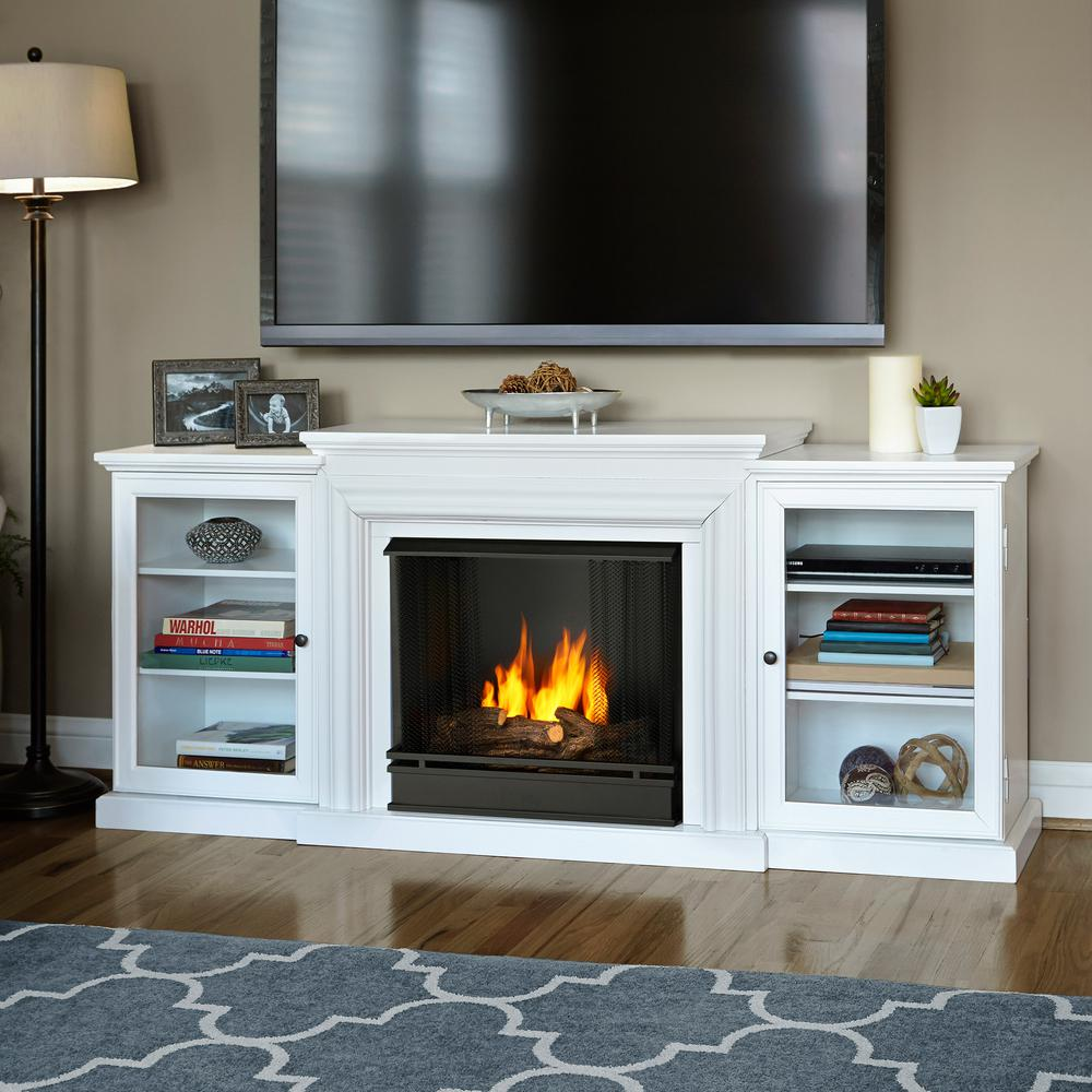 Real Flame Frederick 72 in Entertainment Center Ventless Gel Fuel Fireplace in White7740W