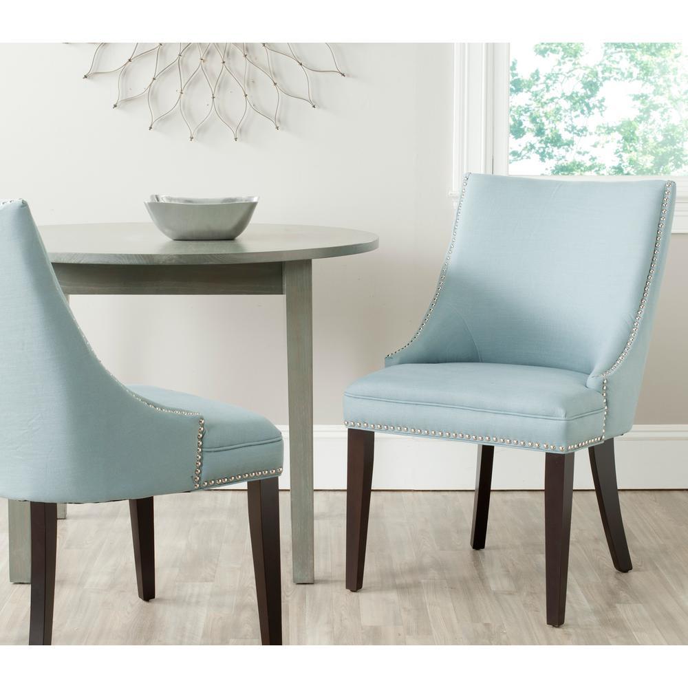 Safavieh Afton Light BlueEspresso CottonLinen Side Chair Set of 2MCR4715ASET2  The Home Depot