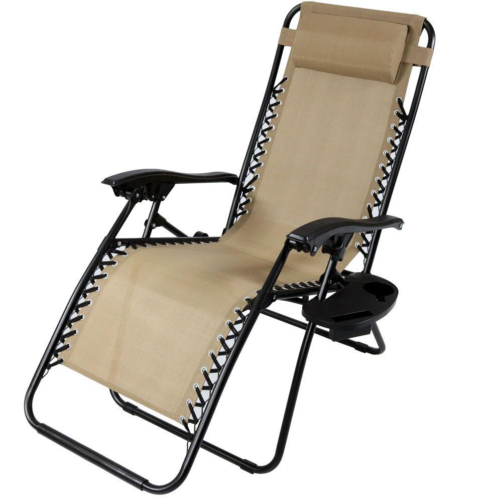 Sunnydaze Decor Zero Gravity Khaki Lawn Chair with Pillow