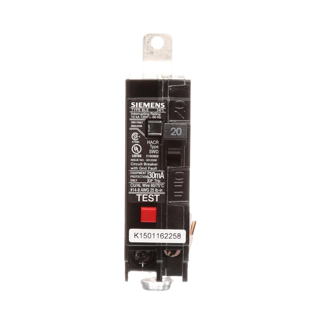 medium resolution of 20 amp single pole 10 ka type ble gfi circuit breaker