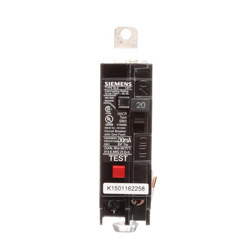 medium resolution of 20 amp single pole 10 ka type ble gfi circuit breaker