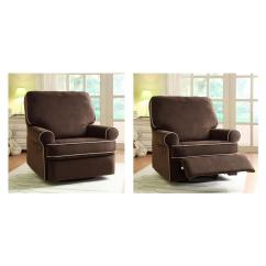 Swivel Reclining Chairs For Living Room Beautiful Rooms Traditional Pri Birch Hill Coffee Brown Fabric Recliner Ds 913 006 178