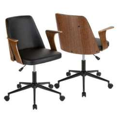 Swivel Chair Vr Accent Chairs On Sale 23 In Black Office Home Furniture The Verdana Walnut And Faux Leather
