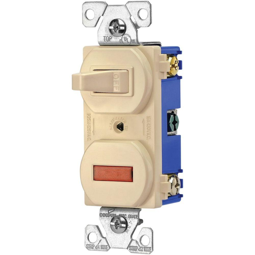 medium resolution of eaton heavy duty grade 15 amp combination single pole toggle switch and pilot light in