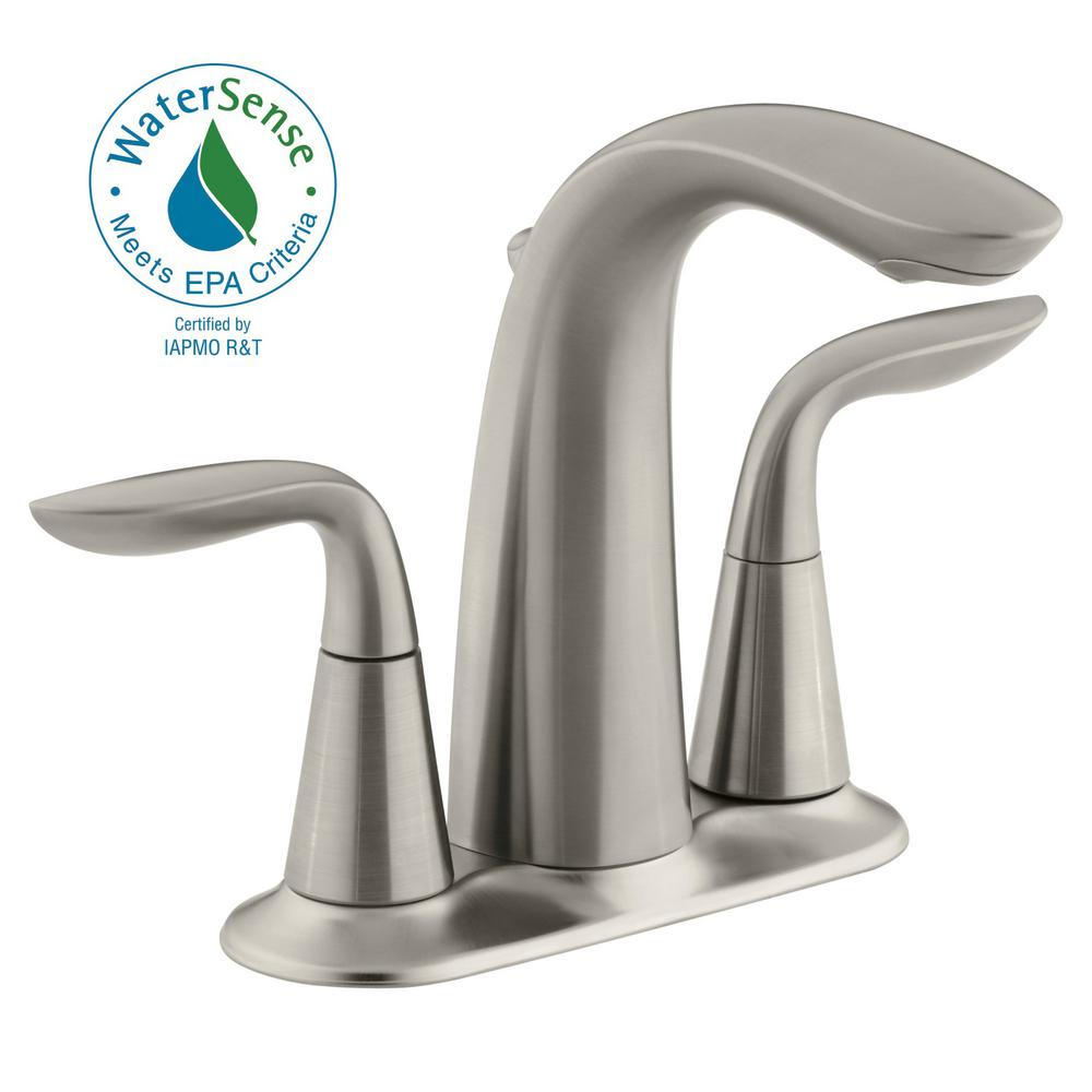 KOHLER Refinia 4 in Centerset 2Handle WaterSaving Bathroom Faucet in Brushed NickelK53164