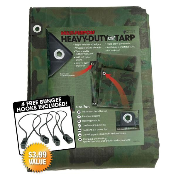 Tafco Products 8 Ft. X 10 Heavy-duty Camo Reversible Poly Mil Tarp Kit Includes 4-free