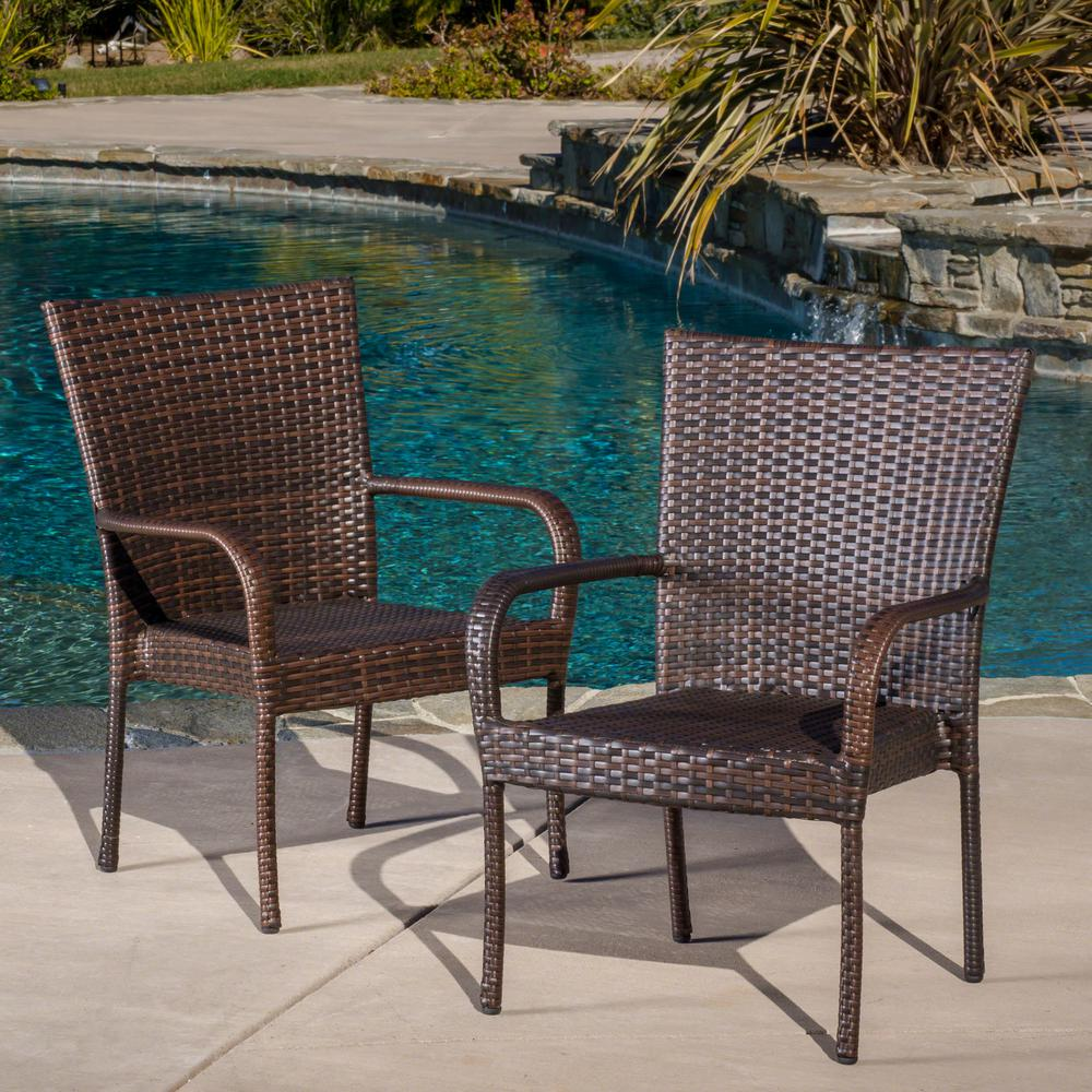 Outdoor Wicker Dining Chairs Noble House Multi Brown Stackable Wicker Outdoor Dining Chairs Set Of 2