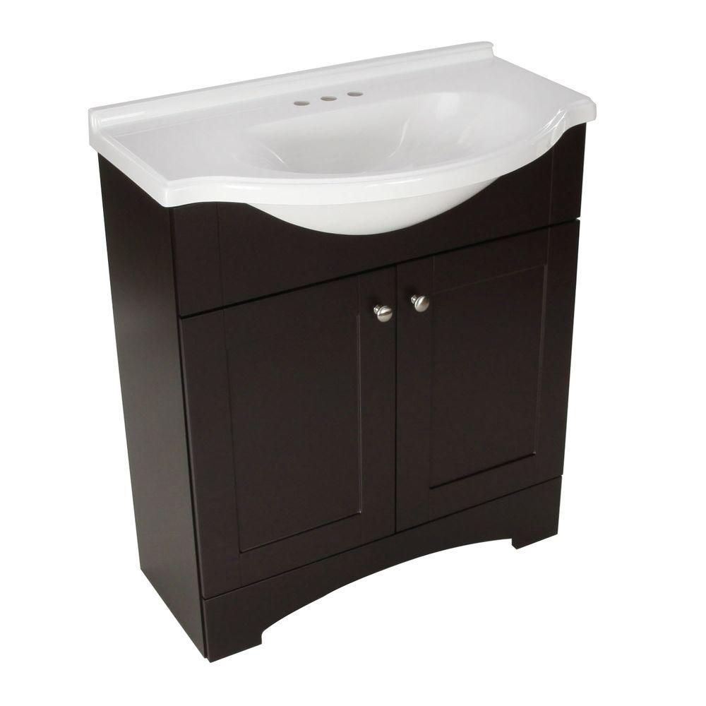Glacier Bay Del Mar 31 In W X 36 In H X 19 In D Bathroom Vanity In Espresso With Cultured Marble White Vanity Top Dmsd30p2com E The Home Depot