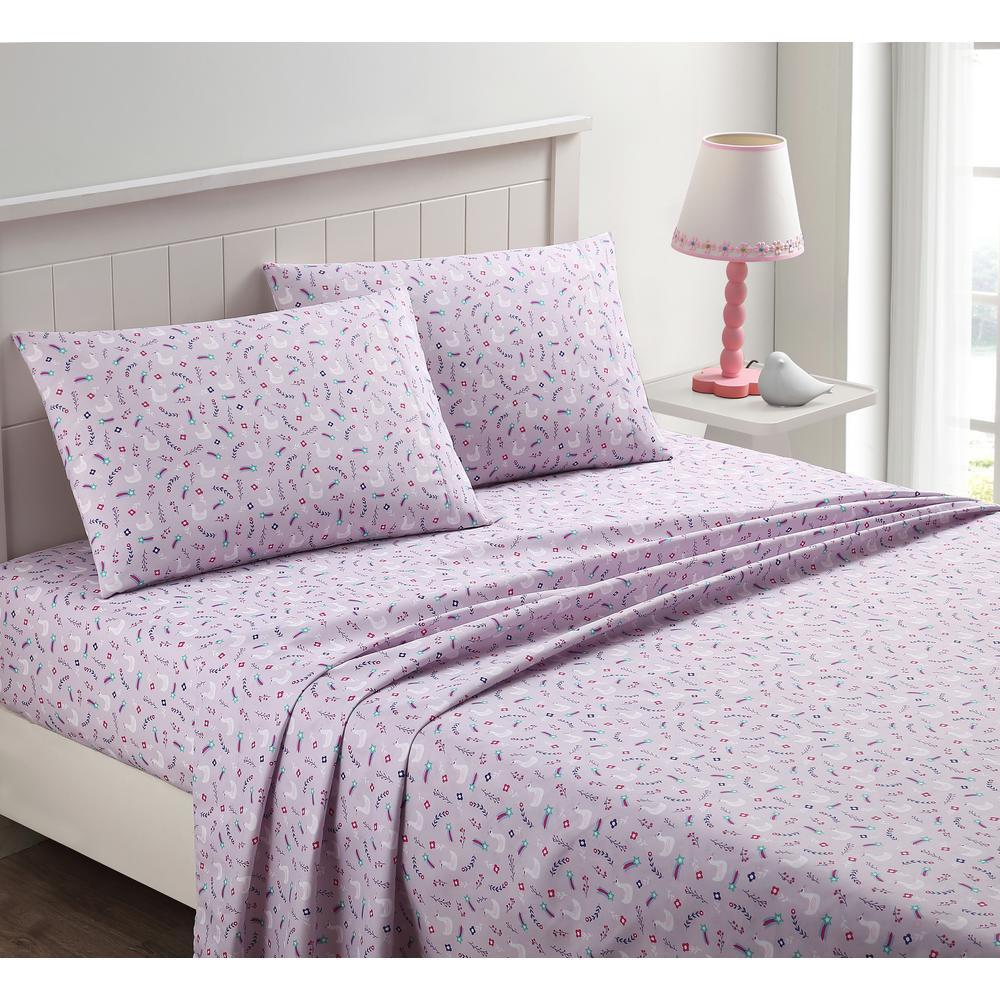 kute kids 4 piece swan love purple queen sheet set m611605 the home depot