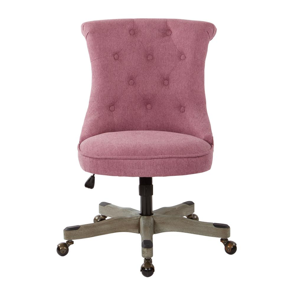 tufted desk chair grey recliner uk osp home furnishings hannah orchid fabric office with wood base