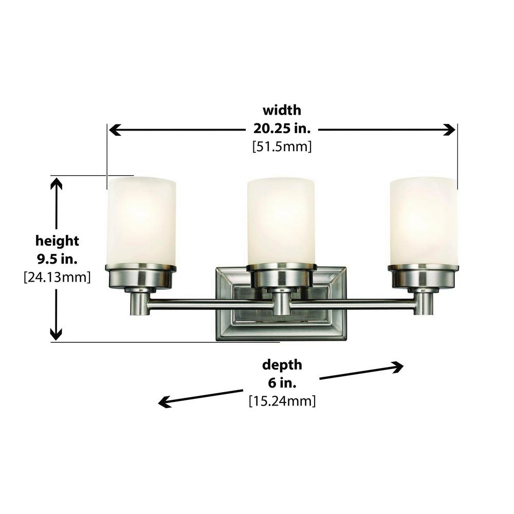 medium resolution of hampton bay cade 3 light brushed nickel vanity light with frosted glass shades