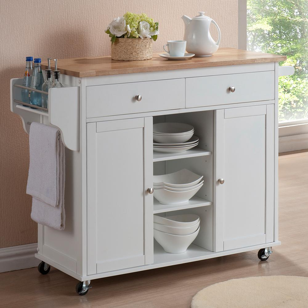 Baxton Studio Meryland White Kitchen Cart with Storage