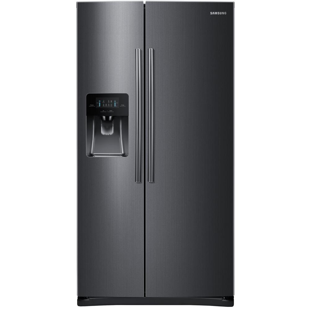 hight resolution of side by side refrigerator in fingerprint resistant black stainless