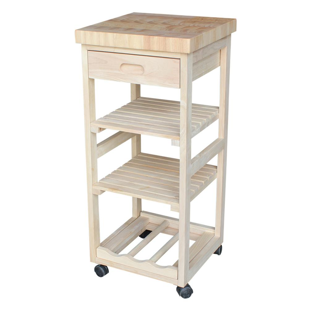 unfinished kitchen cart office appliances international concepts with drawer wc 1515