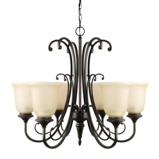 Globe Electric Beverly 6 Light Oil Rubbed Bronze Chandelier With Amber Glass Shade 65571 The Home Depot