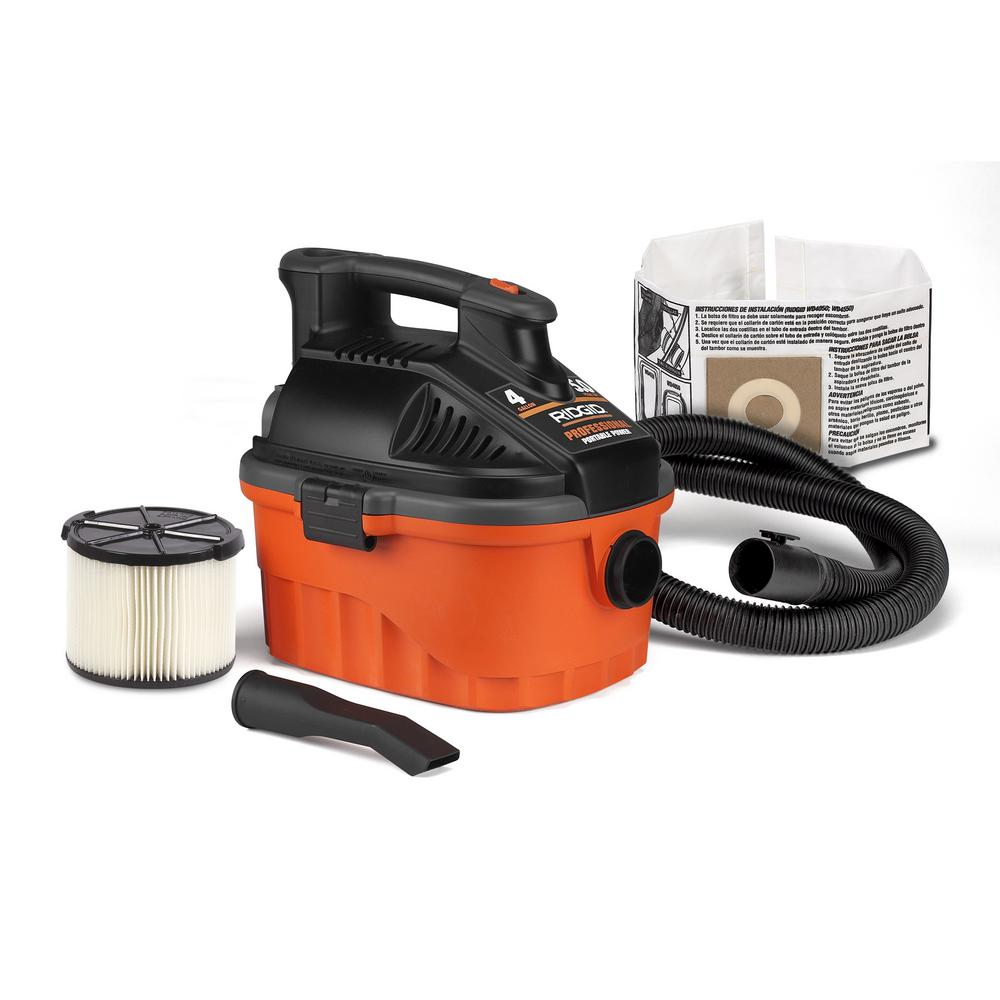 Ridgid 4 Gal 5 0 Peak Hp Portable Wet Dry Shop Vacuum With Filter Hose And Accessories Wd4070 The Home Depot