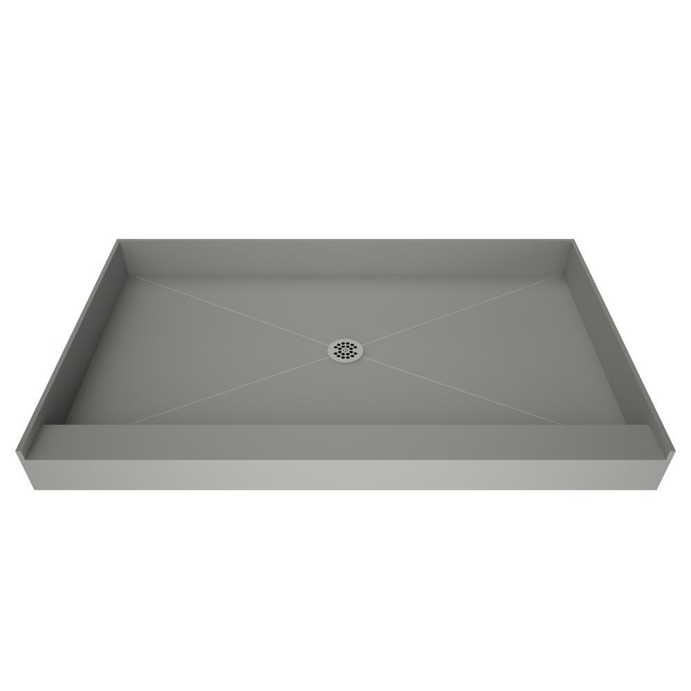 tile redi redi base 30 in x 60 in single threshold shower base in grey with center drain