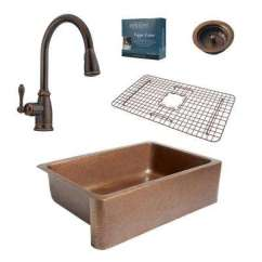 Farmers Kitchen Sink Island Tops All In One Farmhouse Apron Sinks The Adams Copper 33 Single Bowl With