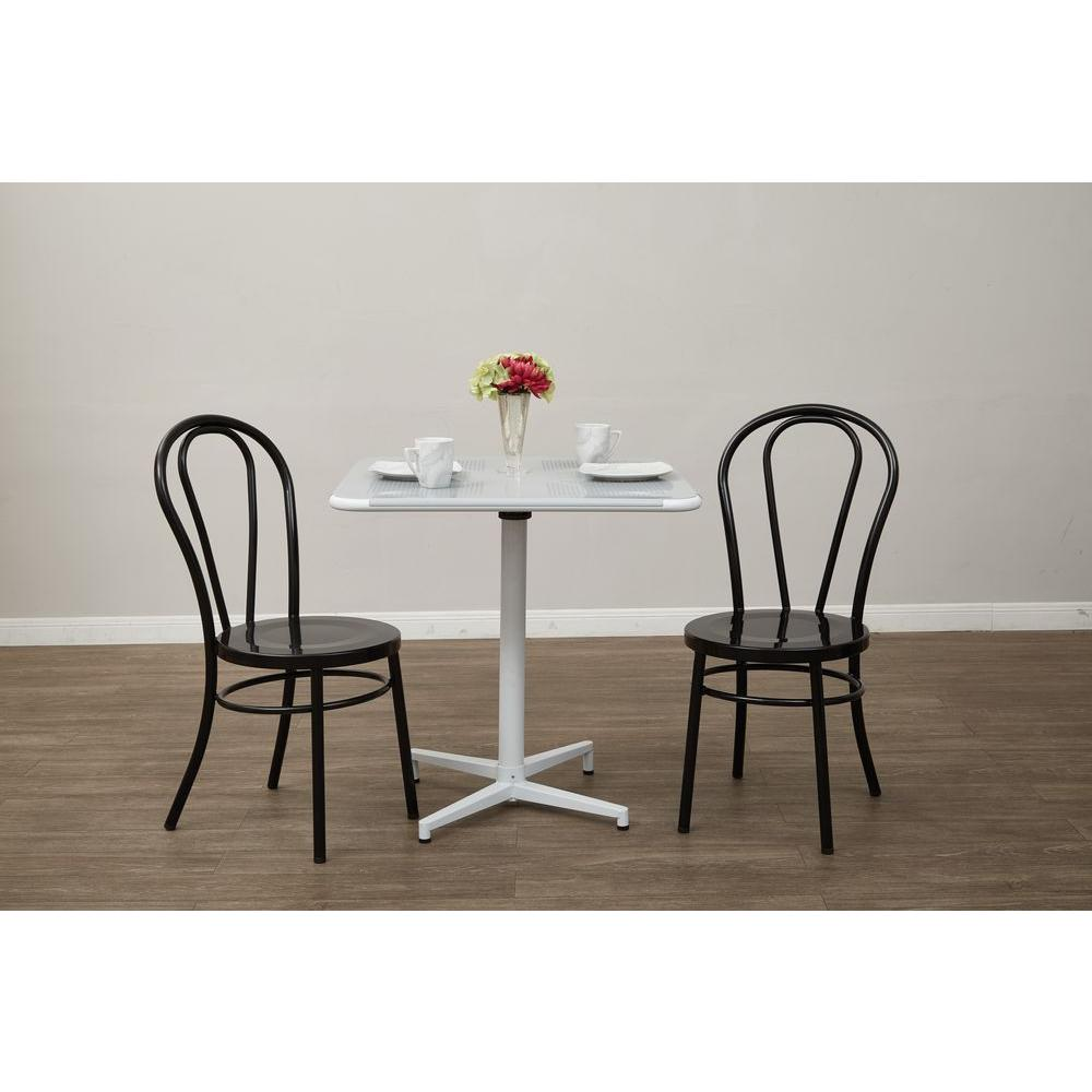 OSPdesigns Odessa Solid Black Metal Dining Chair (Set of 2