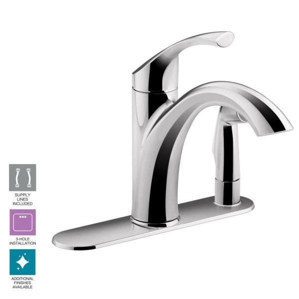 Kohler Mistos Standard Single-handle Pull- Sprayer Kitchen Faucet In Polished Chrome With