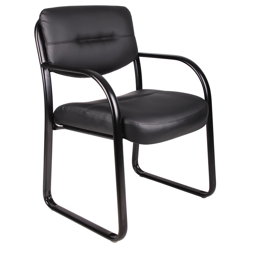 chair with arms potty training boss black leather sled base side b9529 the home depot