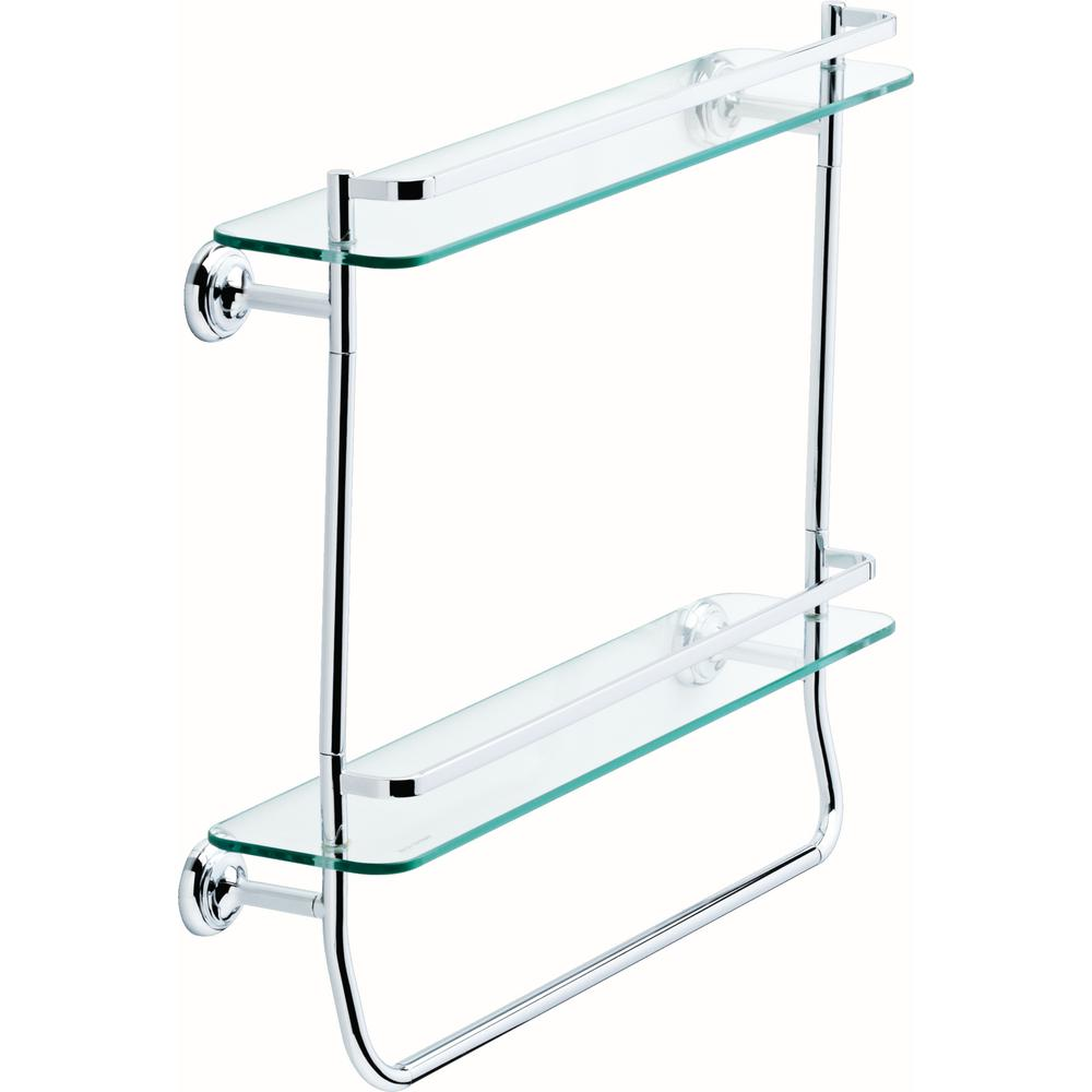 Delta 20 in. Double Glass Shelf with Towel Bar in Polished