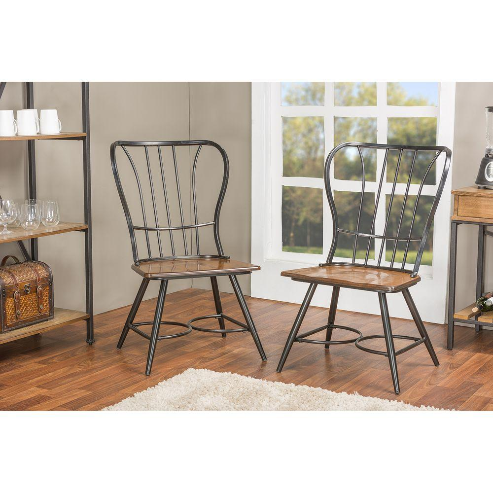 AmeriHome White Metal Dining Chair Set of 2BS3530WSET