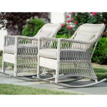 Leisure Pearson Antique White Wicker Outdoor Rocking