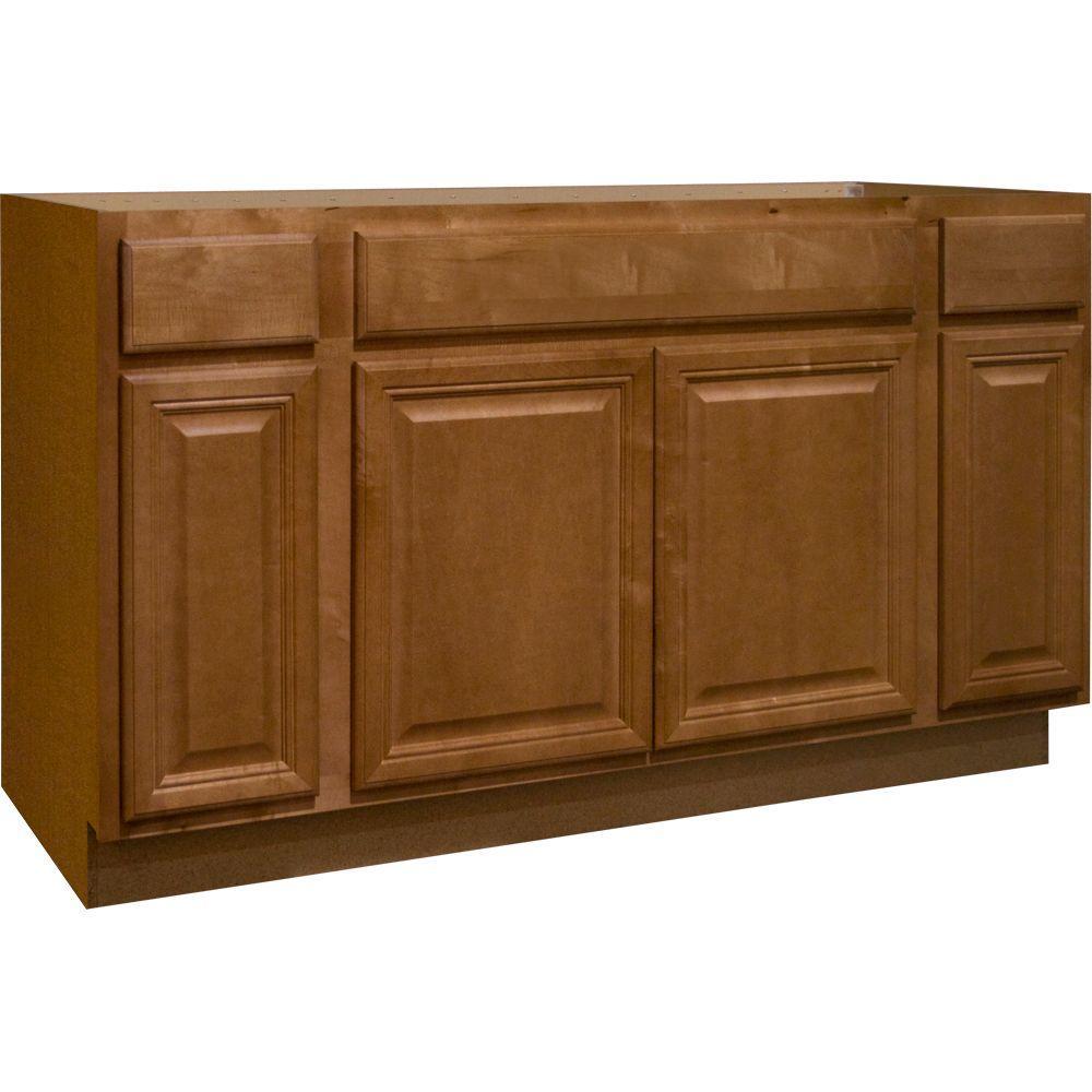 kitchen base cabinets vinyl flooring hampton bay cambria assembled 60x34 5x24 in sink cabinet harvest